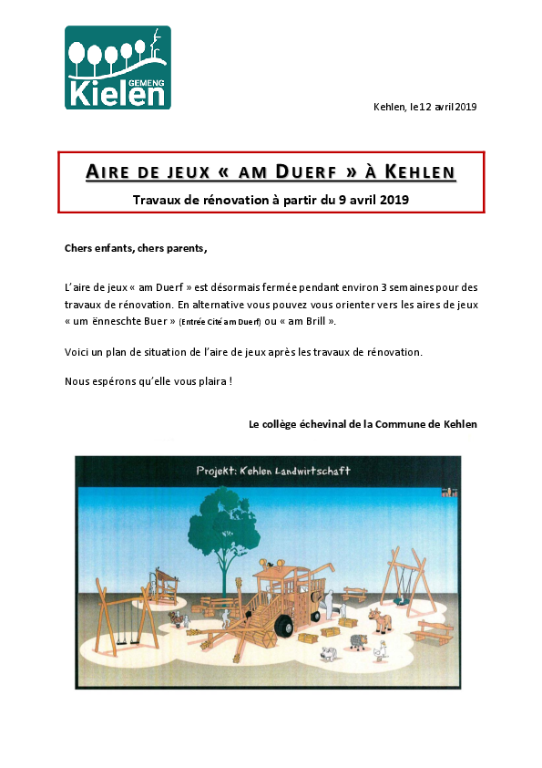 Aire de jeux am Duerf Kehlen - Travaux de rénovations-FR-LUX