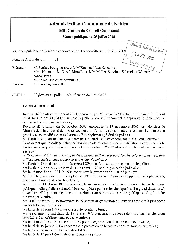 Règlement de Police  - Modification article 33 CC 25.07.2008